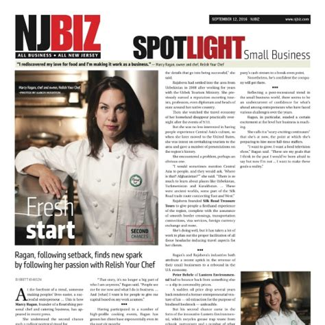 All The News Thats Fit To Eat September 5 2007 by Chef Marcy Ragan In Spoltlight Small Businss On Nj Biz