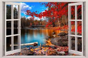 wall scenery murals autumn lakeside 3d window view decal wall sticker decor