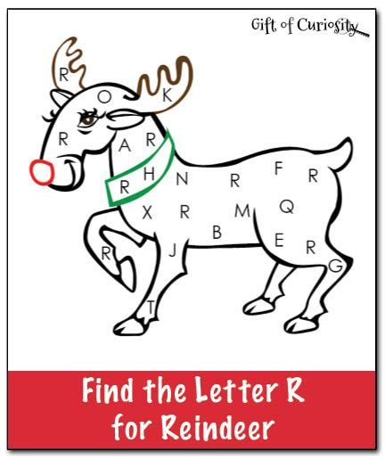 free printable reindeer activities find the letter r for reindeer christmas printable