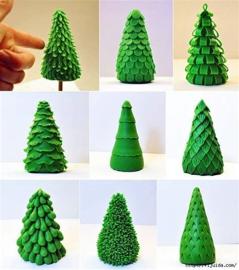 how to make simple clay christmas trees different tree branches made from clay fondant country times