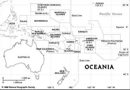 oceania outline map oceania map