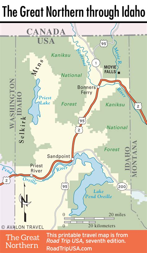 map of northern usa the great northern route across idaho road trip usa