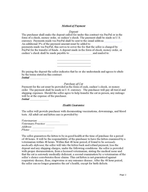 Contract For Purchase Of A Kitten Or Cat Free Download Kitten Contract Template