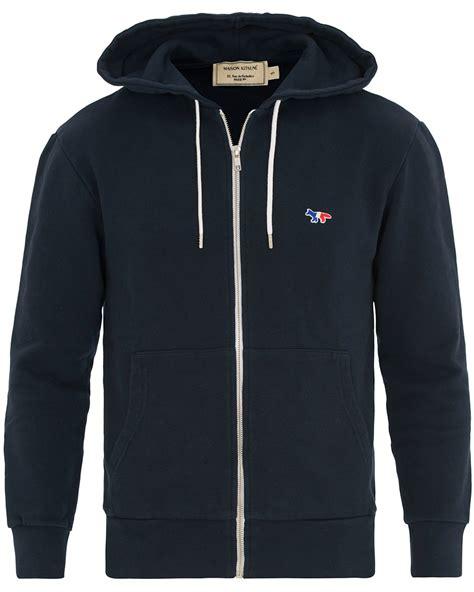 Hoodie Fox Logo Navy maison kitsun 233 zip hoodie tricolor fox patch navy hos