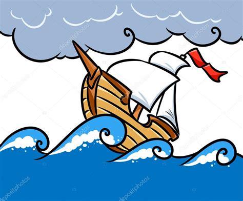 imagenes de barcos animados dibujos de animados mar barco de tormenta foto de stock