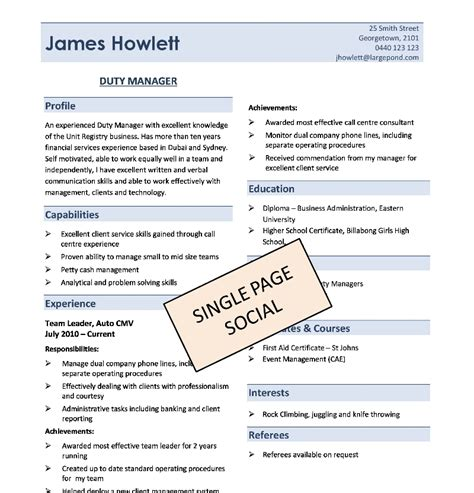 simple one page resume format download fred resumes