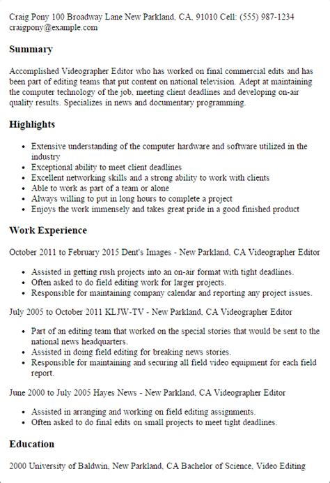 videographer resume summary 28 images videographers