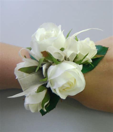 Corsage Flowers by Silk Wedding Wrist Corsage Artificial Flower White