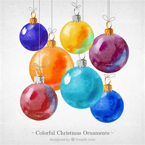 colorful christmas ornaments vector free download