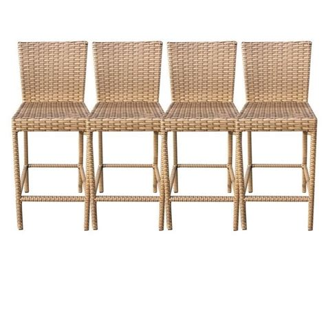 Outdoor Bar Stools Set Of 4 tkc laguna outdoor wicker bar stools in caramel set of 4