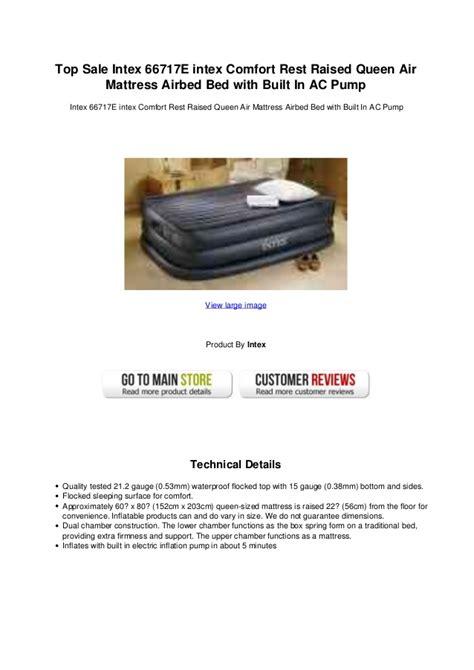 top sale intex 66717 e intex comfort rest raised air mattress a