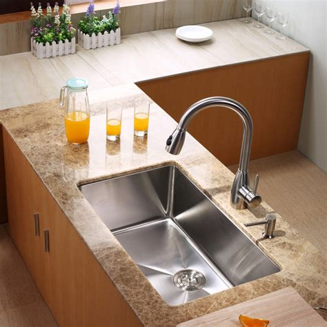 Modern Undermount Kitchen Sinks Kraus Khu100 30 Kpf2130 Sd20 30 Inch Undermount Sink And Faucet Combo Modern Kitchen Sinks