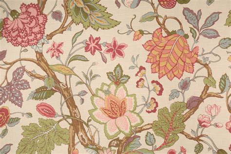 cotton drapery fabric 11 yards floral printed cotton drapery fabric in multi