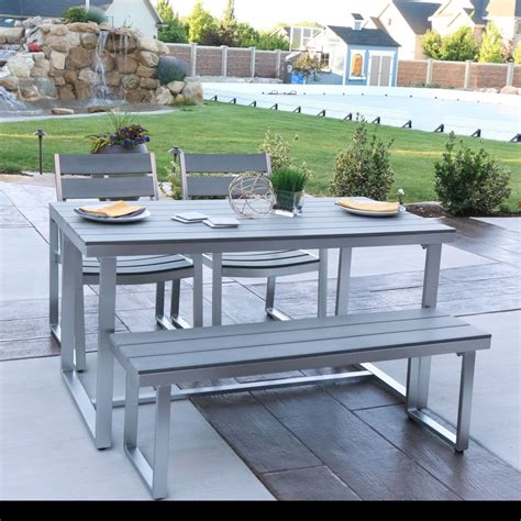 Patio Dining Set With Bench Patio Dining Set 4 Aluminum Gray Outdoor Poly Wood Table Bench Chairs New Ebay