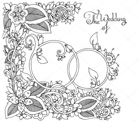 anti stress colouring book doodle and vector illustration zen tangle wedding rings in flowers
