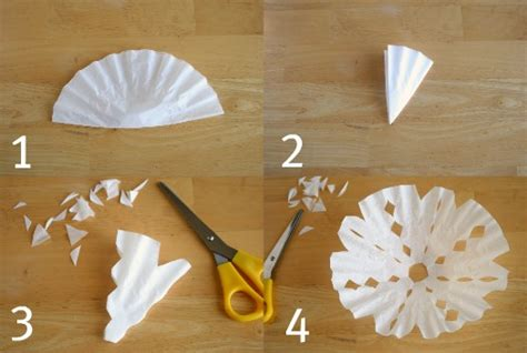 snowflake pattern coffee filter 16 easy diy patterns for making coffee filter snowflakes