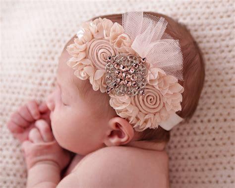 shabby chic baby fabric flower headband newborn baby