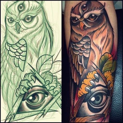 neo traditional owl tattoo willem janssen neo traditional owl with third eye