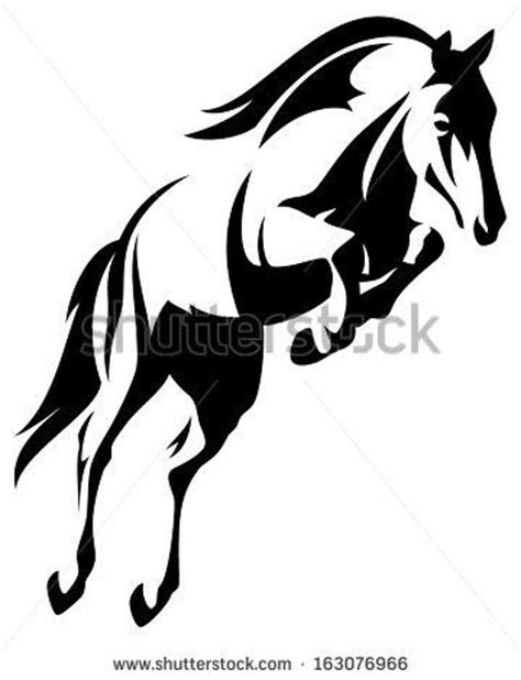 strumming pattern white horse beautiful jumping horse black and white vector outline by