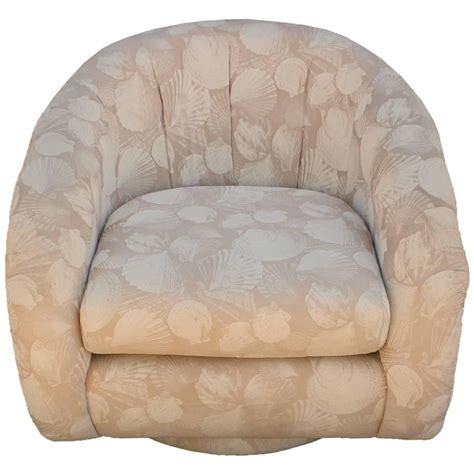 Pair Of Milo Baughman Style Barrel Back Swivel Chairs At Barrel Style Swivel Chair
