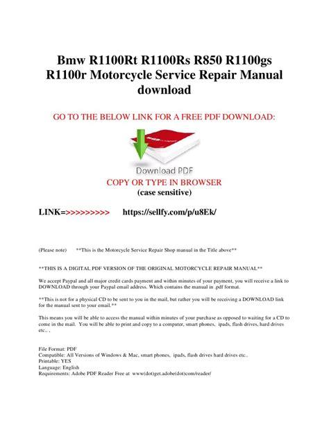 Bmw R1100rt R1100rs R850 R1100gs R1100r Manual Pdf Archive