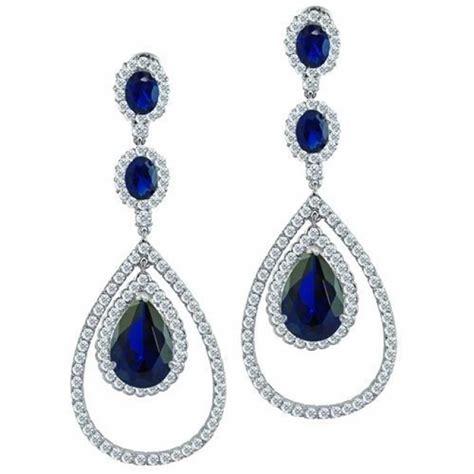 Blue Sapphire Color Cz Triple Teardrop Chandelier Earrings Sapphire Chandelier Earrings