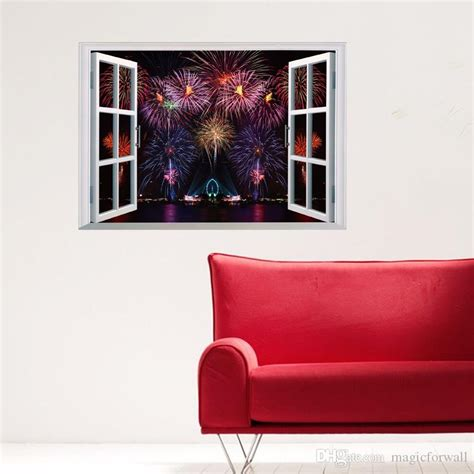 decals for room firework display scenery window view wall stickers living room bedroom wall decals diy home