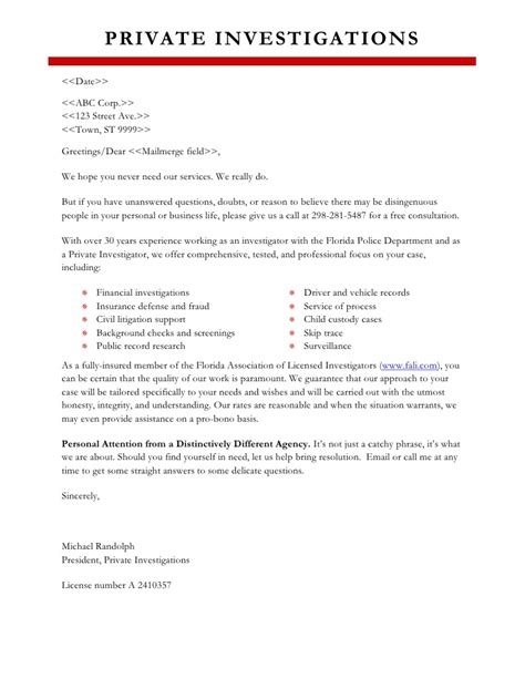 sle marketing letter