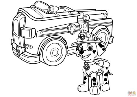 coloring page of a fire truck paw patrol coloring pages marshall and firetruck