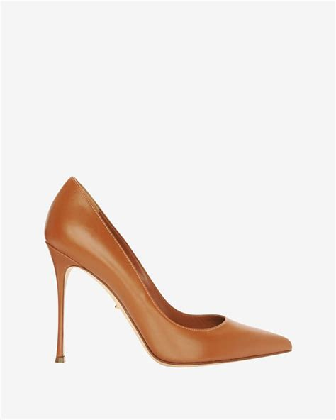 camel colored pumps lyst sergio godiva pointy toe leather camel