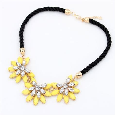 colorful necklaces 2015 flower choker necklace pink colorful chain