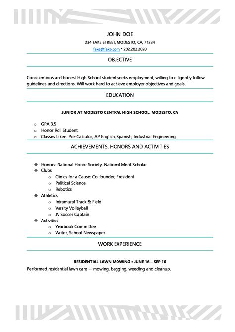 Resume High School Student by Awesome Resumes For High School Students Image
