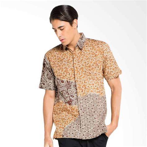 Kemeja Batik Pendek Bunga Matahari jual batik aksen tropis hem pendek acak matahari kemeja pria coklat harga kualitas