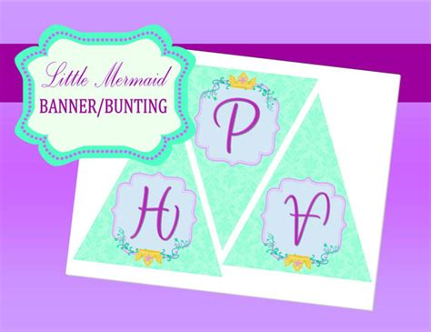 ariel happy birthday banner printable little mermaid party disney princess party by krownkreations