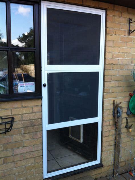 Patio Screen Door With Pet Entrance Flyscreen Pet Door