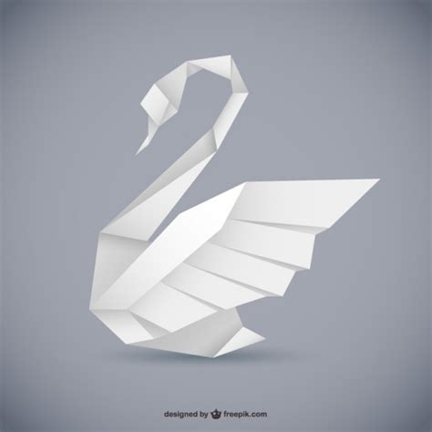 Origami Style - origami style swan vector vector free