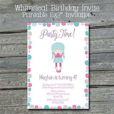 printable birthday invitations nz whimsical birthday invitation cute printable invite for