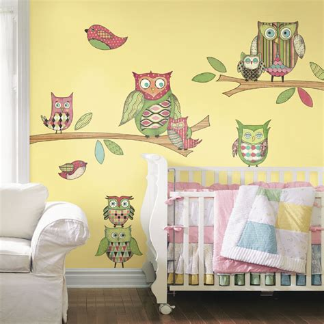 owl peel and stick wall mural in pink rosenberryrooms