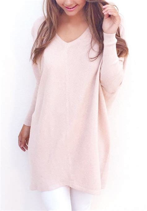 Plain Knit Pullover pink plain v neck sleeve fashion knit pullover