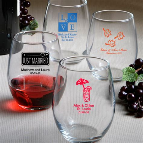 Wedding Gift Glassware by Personalized Stemless Wine Glasses Wedding Favors With