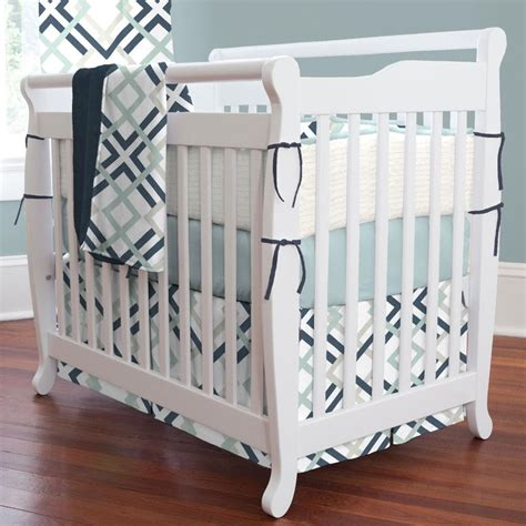 mini crib bed set navy and gray geometric 3 piece mini crib bedding set