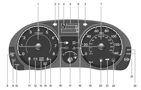 hyundai accent warning lights type a instrument cluster and indicator lights