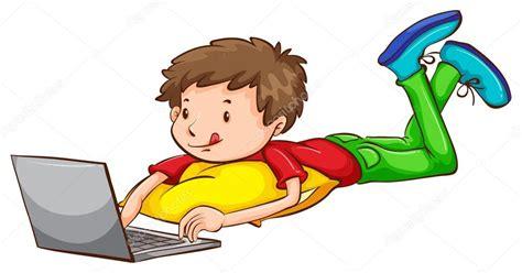 imagenes de niños usando la tecnologia un dibujo coloreado de un ni 241 o usando una laptop archivo