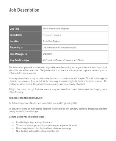 Senior Engineer Description by Maintenance Engineer Description Sle 9 Exles In Word Pdf