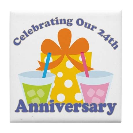 24th anniversary gift tile coaster by anniversarytshirts2
