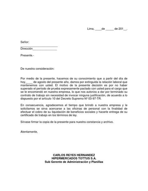 carta de cancelacion laboral carta de t 201 rmino de contrato por periodo de prueba