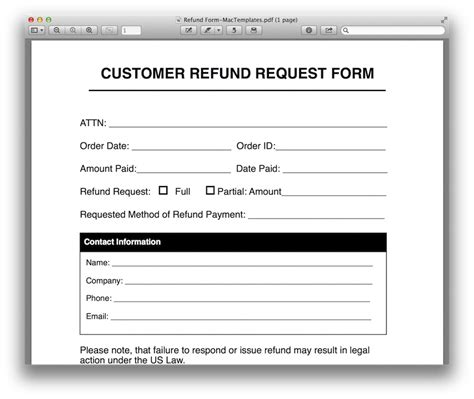Refund Request Form Template For Apple Pages Pdf Mactemplates Com Return Email Template