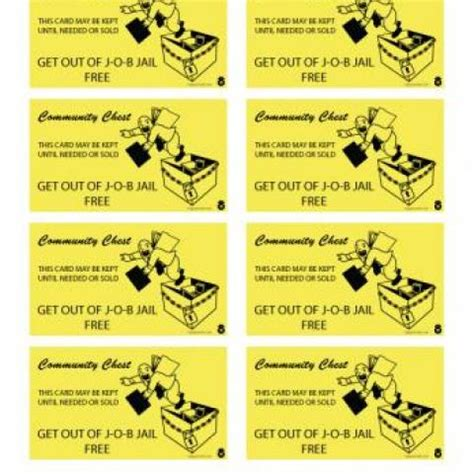 get out of free card monopoly template office happy worker