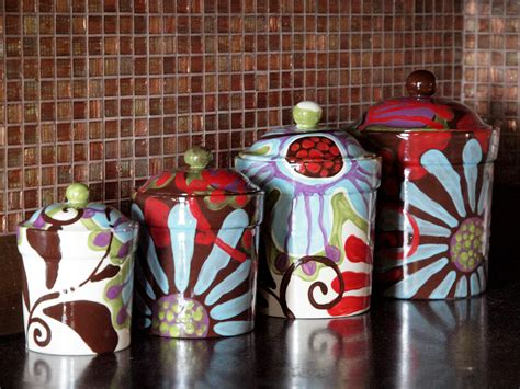 colorful kitchen canisters sets canister set of four fusion colorful pottery by romyandclare