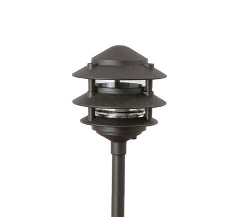 3 tier landscape lighting pagoda hat 3 tier 6 integrated led cast aluminum 120v area landscape light grand light